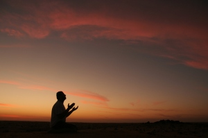 prayer at sunset